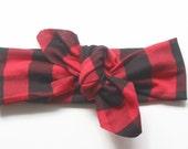buffalo plaid headband, knot headband, knotted headband, baby knot headband, headband baby, adult knot headband, buffalo plaid