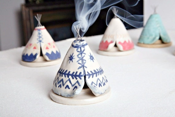 Incense Burner Teepee That Smokes Ceramic Navy By