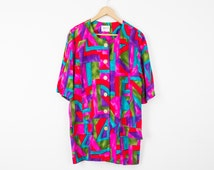 Vintage 80s Colorful Abstract Graphic Short Sleeve Button Up Top Large Blouse vtg Shirt 445
