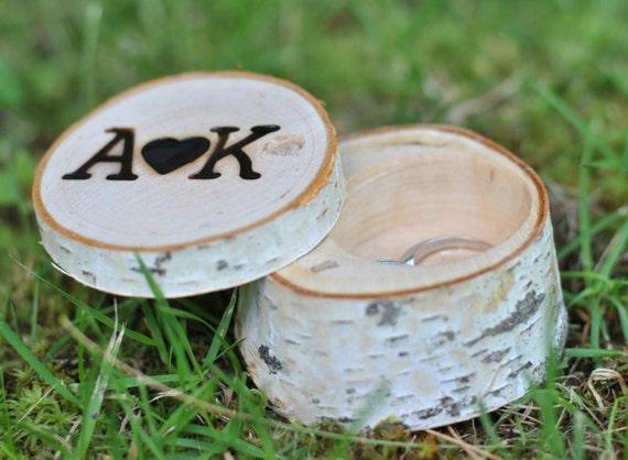 Wedding Ring Box ~ wooden ring box ~ personalized birch ring box ~ Ring pillow/proposal ring box