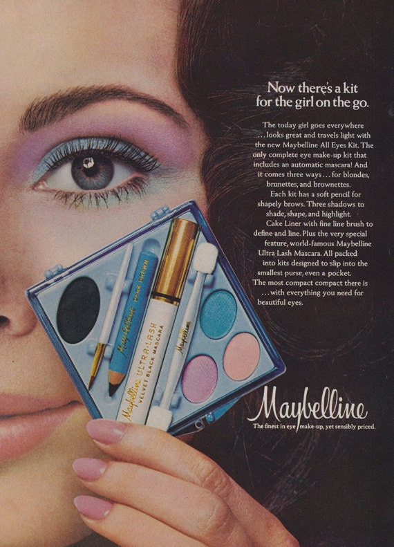 1971 maybelline make up ad all eyes kit vintage advertising for Bathroom accessories ads