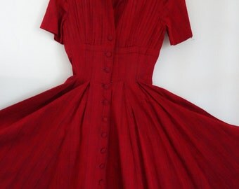 50's Dress Red Shirtwaist Elegant Cocktail Cotton Woven Dress Marilyn Monroe Small