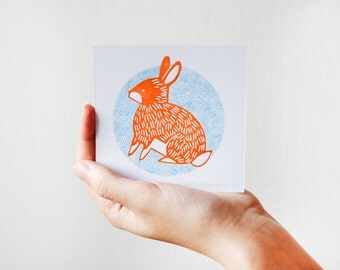 Rabbit Illustration Linocut Print