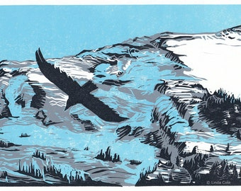 Grotto Glide, 3 Color Linocut Relief Print, Hand Pulled Fine Art, Limited Edition, Printmaking Original, Canmore
