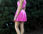 Hot Pink Two Piece Velvet Crop Top and Skirt Set Included in Black