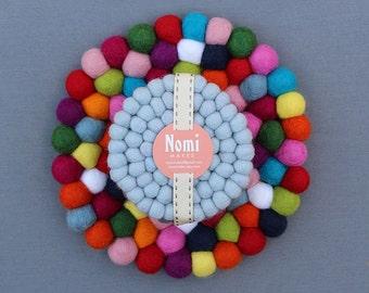 Felt Ball Coaster & Trivet Set // Choose your own colours
