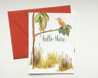 Birds and Tree Note Cards saying hello there