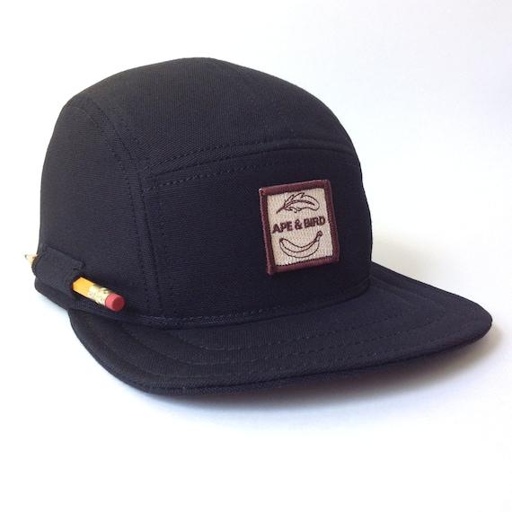 All Black Camp Cap Handmade 5 Panel Hat Baseball Cap By