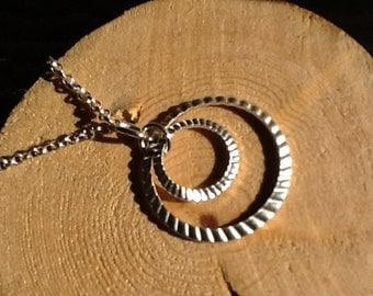 Shiny Silver Double Circle Pendant Necklace
