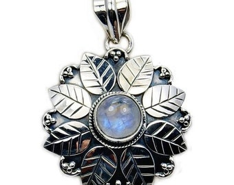 Mist Of Eden Rainbow Moonstone Pendant Moonstone Necklace 925 Sterling Silver Pendant AA388 The Silver Plaza