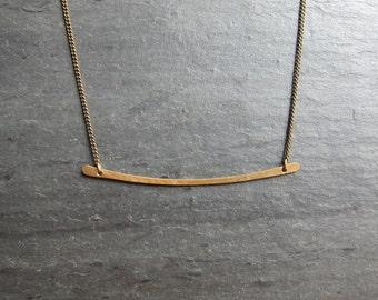 Hammered Brass Bar Necklace