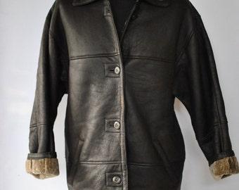 Vintage SHEEPSKIN leather women jacket , leather coat ....(111)