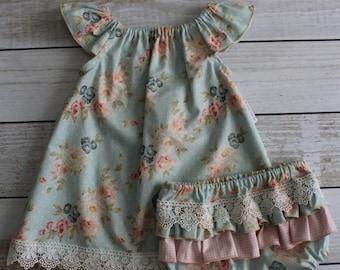 Vintage Ruffle Sleeve Dress & Nappy Cover Set - Various Sizes