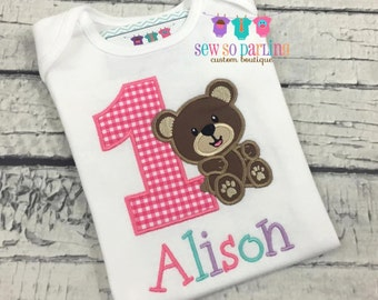 1st Birthday Girl Bear Shirt - Teddy Bear Birthday Shirt - Baby Girl Bear Birthday Outfit - Birthday shirt for girls - Bear Birthday girl