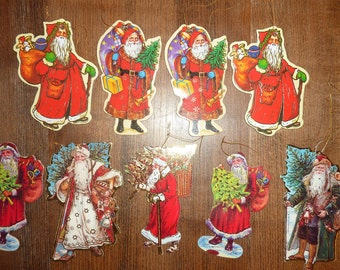 9 Vintage Victorian Santa Paper Ornament Die Cut Cardboard Christmas Tree Decor Lot 1984
