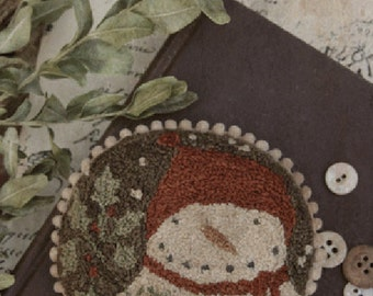Pattern: Punch Needle - Holly Jolly Snowman - With Thy Needle and Thread - Country Stitches - Brenda Gervais