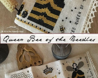 "Pattern: Needle Case - ""Bee"" Queen of the Needles Cross Stitch and Pincushion- Primitive Hare"