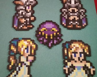 Final Fantasy VI/Final Fantasy III (US) perler bead sprite Maria, Draco, and Ultros choose from 1 of 5 or get all 5, plain or magnet