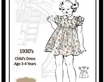 Childs Dress Age 3-4years 1930s Vintage Sewing Pattern  - Paper Pattern