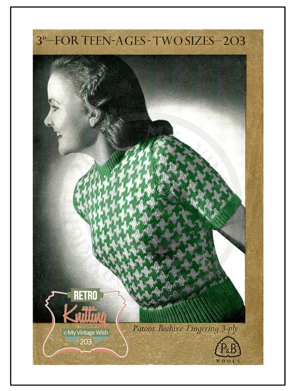 1940s Dog Tooth Sweater Knitting Pattern Instant by ...