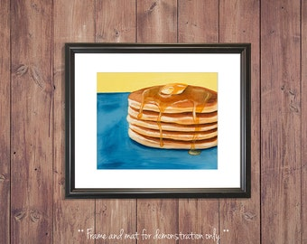 Pancake Print from Original Oil Painting, Breakfast Art, 4x5, 8x10