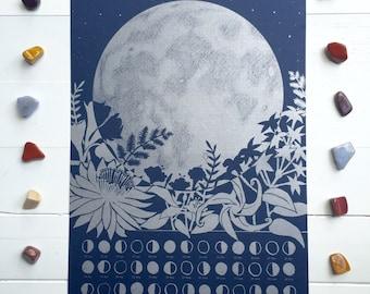 2017 Lunar Calendar Poster, Wall Calendar, Moon Phase, Moon Calendar, Moon Art, Lunar Phase, Silver Art Print, Astronomy Gift