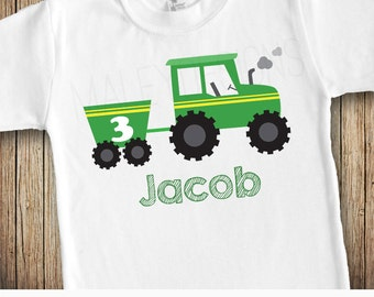 Tractor Birthday Shirt, Personalized Birthday Shirt, Green Yellow Tractor Shirt, Boys Tractor Shirt, Tractor Birthday Party Shirt