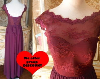 Purple lace bridesmaid dress, Plum bridesmaid dress, purple bridesmaid dress. Lace dress