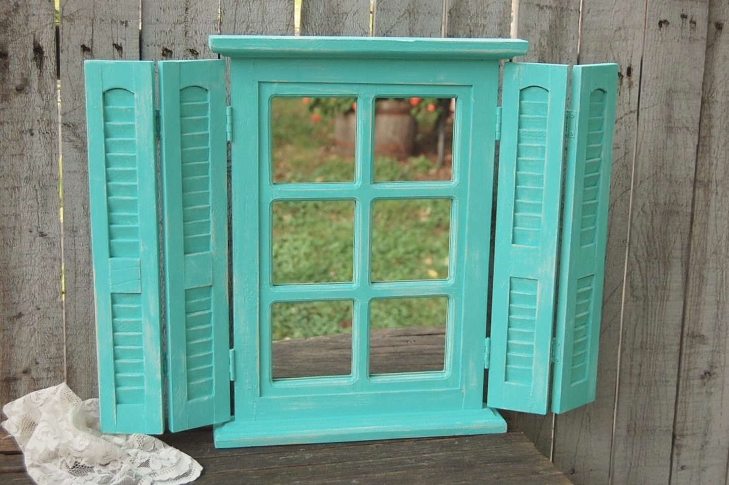 mirror shabby chic window shutters aqua turquoise. Black Bedroom Furniture Sets. Home Design Ideas