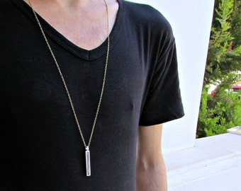 Men S Bar Initial Pendant Necklace Personalized Tag