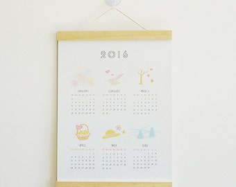 2016 Wall Calendar Print with hanging wood frame