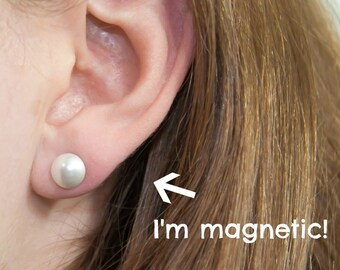 "Magnetic clip earrings, pearl cabochon, 8mm (5/16"")"