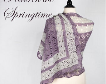 Paris in the Springtime Shawl Yarn Kit with Beads, Stitch Markers and your choice of colors