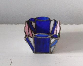 Stained Glass Candleholder Cobalt Blue Pink Flower Design Candle Holder Vintage