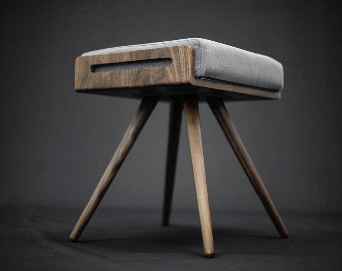 Stool / Seat / Ottoman / bench in solid Walnut board and walnut legs