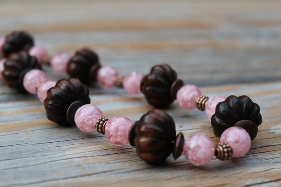 Pink Wood Bead Necklace, Short Chunky Pink Necklace
