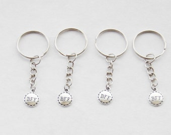BFF Key rings 4 BFF Keychains Four Best friends Keychains Best Friends Forever keychain Dainty Keychains friendship keychain Tiny Keyring