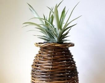 Vintage wicker basket/ large rustic cane planter/ decorative storage basket/ boho bohemian decor