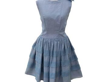 1960s blue chiffon vintage party dress