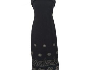 1970s elegant black evening gown