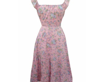 1970s antique rose vintage midi dress