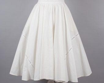 1980s cream cotton full circle vintage skirt