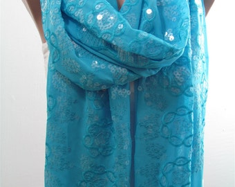 Turquoise Scarf Shawl Wrap Oversize Scarf Turquoise Wedding Shawl Scarf Bridesmaids Gifts Sequin Scarf Gift Ideas For Her
