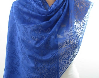 Tulle Scarf Cobalt Scarf Shawl Wedding Wrap Bridesmaids Gift Spring Summer Fall Fashion Scarf Women Fashion Accessory Christmas Gift For Her