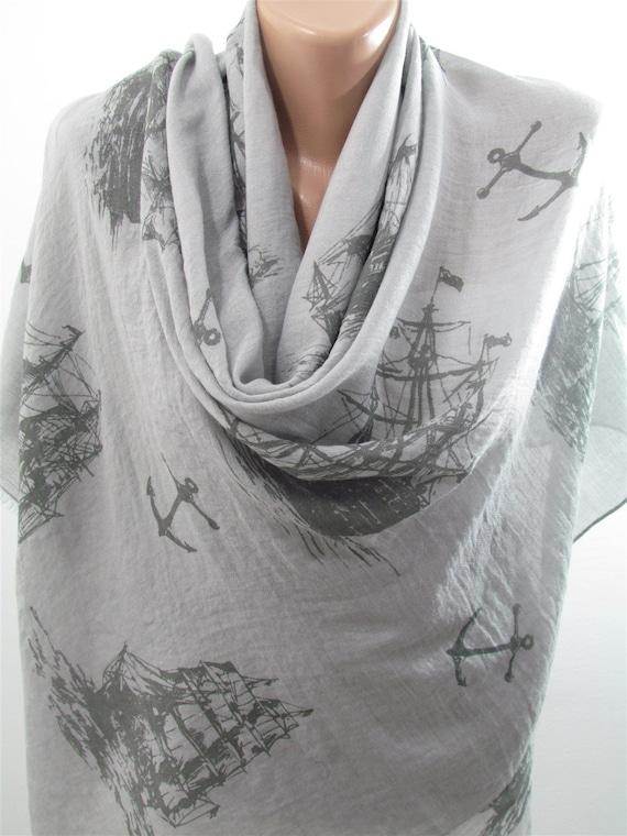 sailor anchor scarf so soft cotton scarf shawl nautical scarf