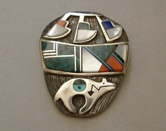 RARE Vintage Native American Indian Brooch Turquoise, Lapis, Onyx, Mother Pearl Inlay NAVAJO Sterling Pottery Bear Signed Hallmarked c.1980s