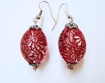 Red Flower Earrings