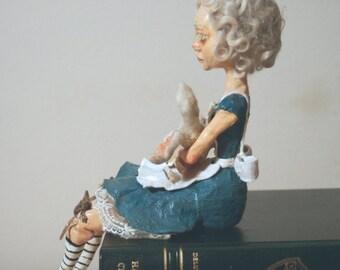 SALE! Alice In Wonderland with White Rabbit Art Doll