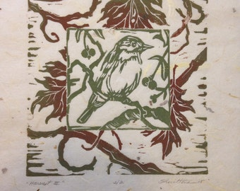 Bird/Oak leaf block-printed,handmade,limited edition,printmaking,linocut,spring,summer,fall,bird art,woodland,home decor,botanical,leaf art