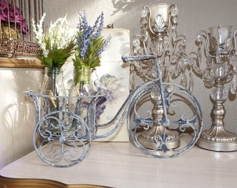Silver Distressed Wrought Iron Bicycle Plant Stand, Shabby Chic